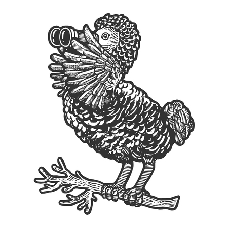 Cartoon Dodo bird watching through binocular sketch engraving vector illustration. Scratch board style imitation. Hand drawn image.