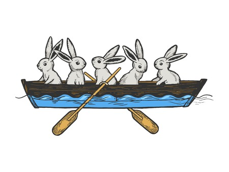 Hare rabbit animals in boat color sketch engraving vector illustration. Scratch board style imitation. Black and white hand drawn image.