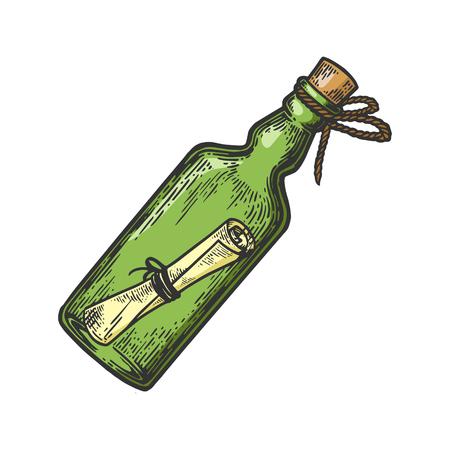 Messaggio in una bottiglia colore schizzo incisione illustrazione vettoriale. Imitazione di stile scratch board. Immagine disegnata a mano.