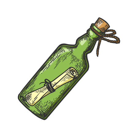 Message in a bottle color sketch engraving vector illustration. Scratch board style imitation. Hand drawn image.