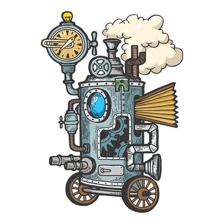 Fantástico steam punk machine color sketch grabado ilustración vectorial. Imitación de tablero de rascar. Imagen dibujada a mano en blanco y negro. Ilustración de vector