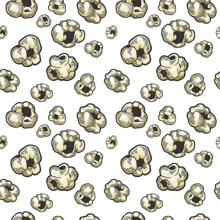 Popcorn Essen Farbskizze Gravur nahtlose Muster auf weißem Hintergrund-Vektor-Illustration. Nachahmung im Scratchboard-Stil. Handgezeichnetes Schwarz-Weiß-Bild.