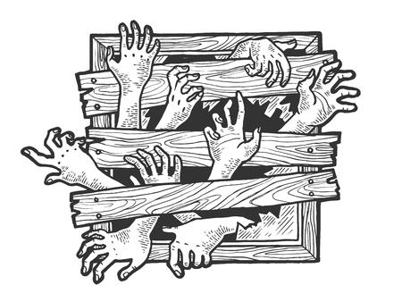Les mains de zombies essaient de traverser l'illustration vectorielle de gravure de croquis de fenêtre embarquée. Imitation de style planche à gratter. Image dessinée à la main en noir et blanc. Vecteurs