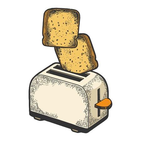 Broodrooster met vliegende uit brood toast crouton kleur schets gravure vectorillustratie. Imitatie in de stijl van een krasbord. Zwart-wit hand getekende afbeelding. Vector Illustratie
