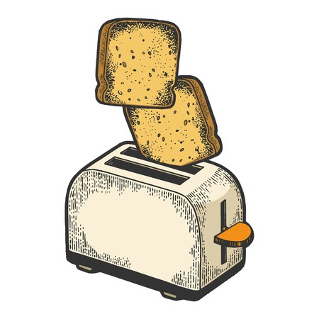 Tostapane con volare fuori pane tostato crostino colore schizzo incisione illustrazione vettoriale. Imitazione di stile scratch board. Immagine disegnata a mano in bianco e nero. Vettoriali