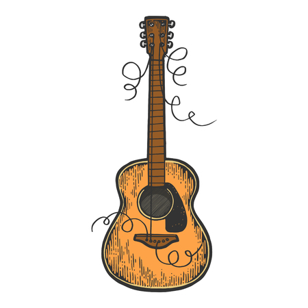 Guitar with torn strings color sketch engraving vector illustration. Scratch board style imitation. Black and white hand drawn image.