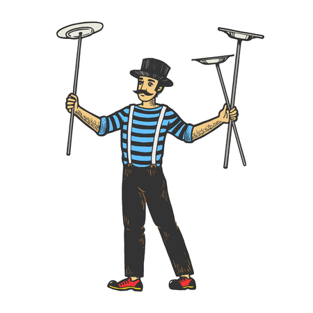Circus juggler balancing plates on sticks performance color sketch engraving vector illustration. Scratch board style imitation. Black and white hand drawn image.