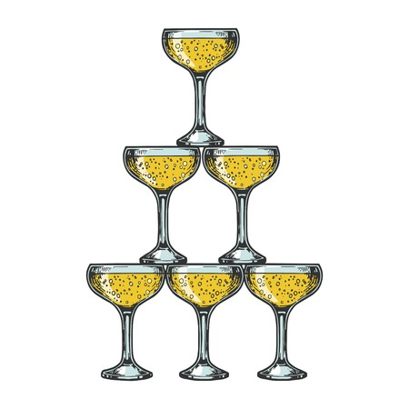 Champagne glass pyramid tower color sketch engraving vector illustration. Scratch board style imitation. Black and white hand drawn image.