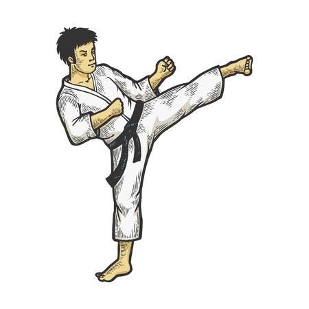 Karate athlete kick foot up on head area color sketch engraving vector illustration. Scratch board style imitation. Black and white hand drawn image. Illustration