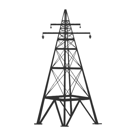 High Voltage Power Line Support tower sketch engraving vector illustration. Scratch board style imitation. Black and white hand drawn image.