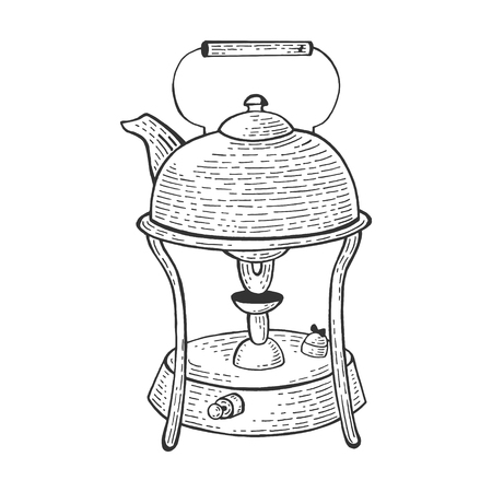 Old kettle on primus stove sketch engraving vector illustration. Scratch board style imitation. Hand drawn image.