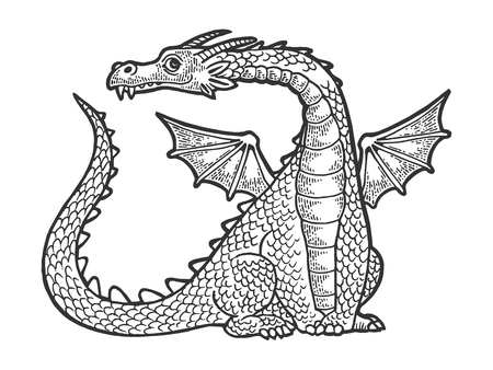 Dragon fabulous mythical cartoon animal sketch engraving vector illustration. Scratch board style imitation. Hand drawn image.