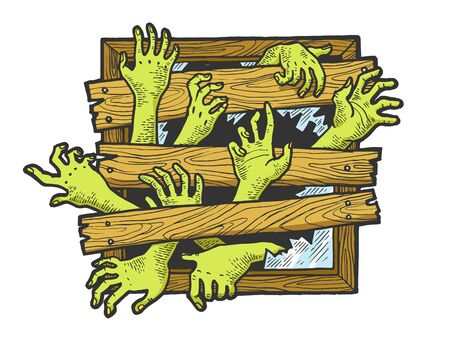 Zombie hands are trying to get through boarded window sketch engraving vector illustration. Scratch board style imitation. Black and white hand drawn image.  イラスト・ベクター素材