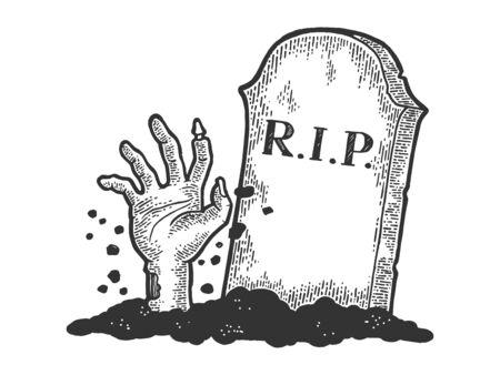 La mano del hombre muerto del zombi se arrastra fuera de la ilustración del vector del grabado del bosquejo de la tumba. Imitación de tablero de rascar. Imagen dibujada a mano en blanco y negro.