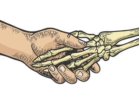 Death skeleton handshake color sketch engraving vector illustration. Scratch board style imitation. Black and white hand drawn image.