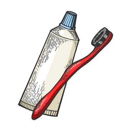 Zahnbürste und Zahnpasta Farbskizze Gravur Vector Illustration. Nachahmung im Scratchboard-Stil. Handgezeichnetes Bild.