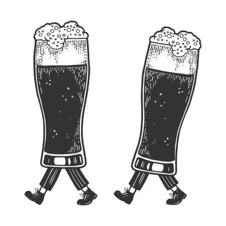 Beer glass cups walks on its feet sketch engraving vector illustration. Scratch board style imitation. Black and white hand drawn image.