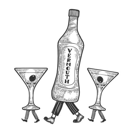 Vermouth bottle with glass cups walks on its feet sketch engraving vector illustration. Scratch board style imitation. Black and white hand drawn image.