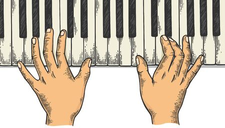 Hands and piano keys color sketch engraving vector illustration. Scratch board style imitation. Black and white hand drawn image. Illustration