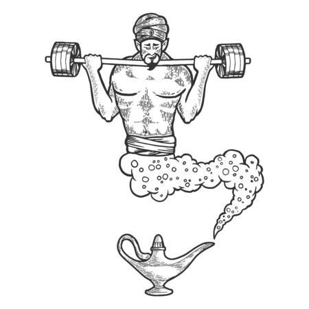 Magical fabulous athlete genie Djinn out of magic lantern with barbell sketch line art engraving vector illustration. Scratch board style imitation. Black and white hand drawn image. Illustration