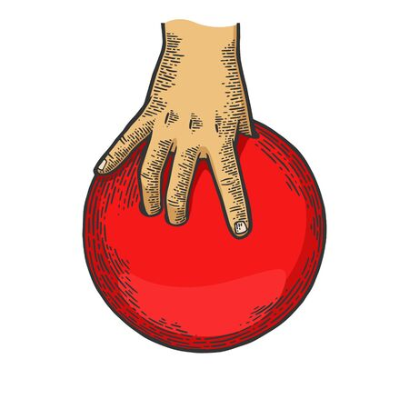 Hand with bowling ball color sketch engraving vector illustration. Scratch board style imitation. Black and white hand drawn image. Ilustração