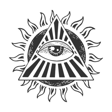 Eye of God Providence tattoo masonic symbol sketch engraving vector illustration. Scratch board style imitation. Black and white hand drawn image.
