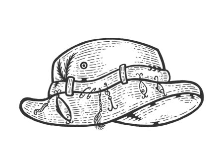 Fisherman hat sketch engraving vector illustration. Scratch board style imitation. Black and white hand drawn image.