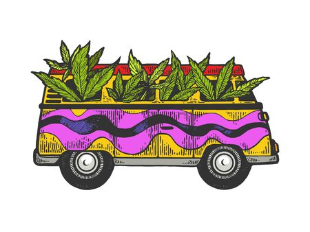 Minibus van with weed cannabis leaf color sketch engraving vector illustration. Scratch board style imitation. Black and white hand drawn image.