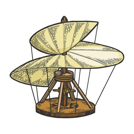 Medieval helicopter model color sketch engraving vector illustration. Scratch board style imitation. Hand drawn image. Illustration