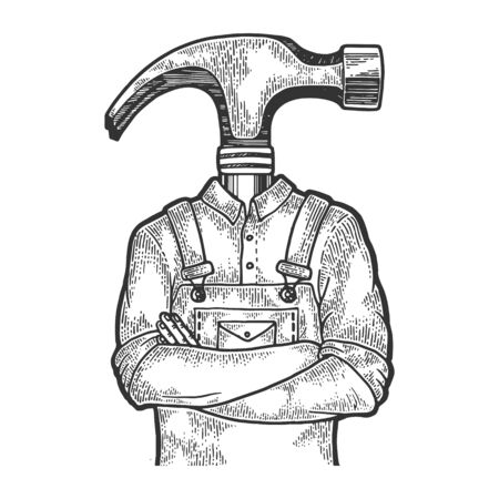 Hammer head construction worker carpenter sketch engraving vector illustration. Scratch board style imitation. Black and white hand drawn image.