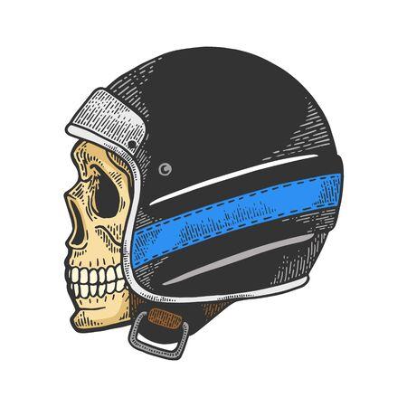 Skull in old motorcycle helmet color sketch engraving vector illustration. Scratch board style imitation. Hand drawn image. Illustration