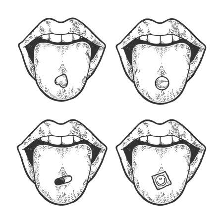 Język z narkotykami pigułki i LSD pieczęć szkic Grawerowanie ilustracji wektorowych. Imitacja stylu drapaka. Czarno-biały obraz narysowany ręcznie.