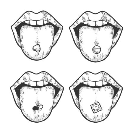 Lengua con píldora narcótica de drogas y LSD sello boceto grabado ilustración vectorial. Imitación de tablero de rascar. Imagen dibujada a mano en blanco y negro.