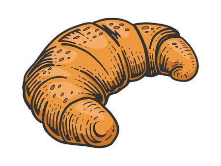 Croissant dulce panadería producto color boceto grabado ilustración vectorial. Imitación de tablero de rascar. Imagen dibujada a mano en blanco y negro.