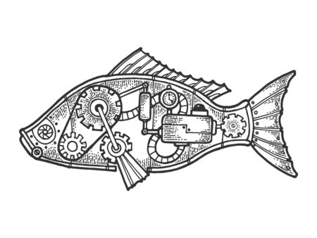 Mechanical fish animal sketch engraving vector illustration. Scratch board style imitation. Black and white hand drawn image.