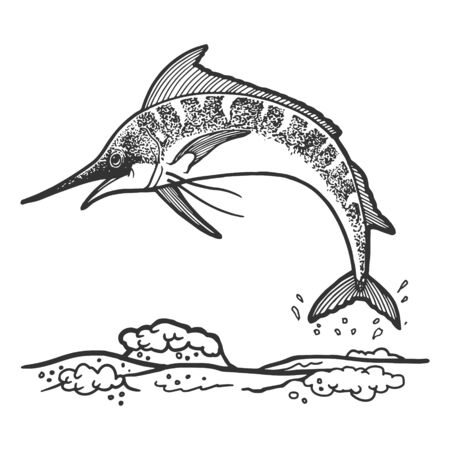 Swordfish marlin jumping from water sketch engraving vector illustration. Scratch board style imitation. Hand drawn image.
