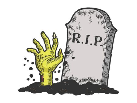 Zombie Dead man hand crawls out of grave color sketch engraving vector illustration. Scratch board style imitation. Black and white hand drawn image. Illusztráció