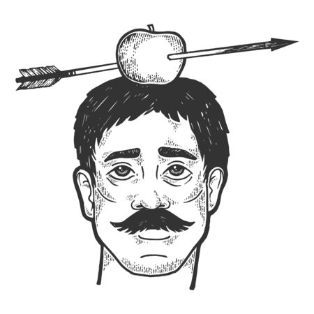 Apple on man head shot with arrow sketch engraving vector illustration. Scratch board style imitation. Black and white hand drawn image.