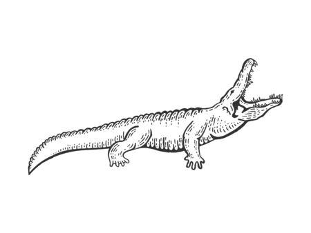Croquis de crocodile alligator gravure illustration vectorielle. Imitation de style planche à gratter. Image dessinée à la main en noir et blanc.