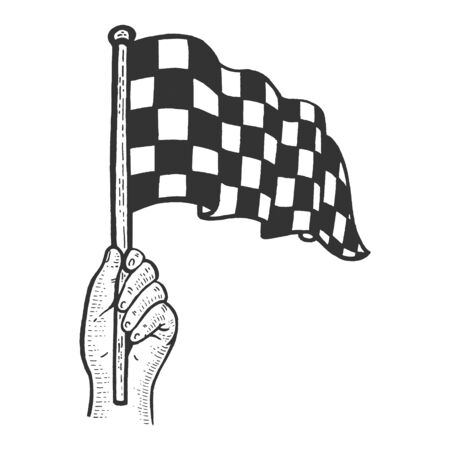 Racing checkered flag in hand flag sketch engraving vector illustration. Scratch board style imitation. Black and white hand drawn image.
