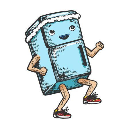 Coureur de réfrigérateur sur ses pieds dessin animé personnage couleur croquis gravure illustration vectorielle. Imitation de style planche à gratter. Image dessinée à la main en noir et blanc.