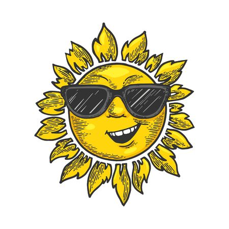 Cartoon sun with face in sunglasses color sketch engraving vector illustration. Scratch board style imitation. Black and white hand drawn image.