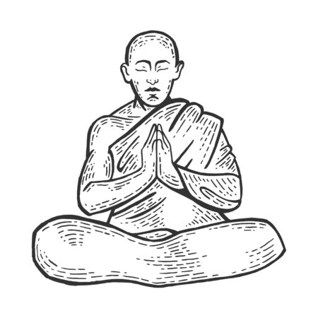 Buddhist monk meditating in Lotus position sketch engraving vector illustration. Scratch board style imitation. Black and white hand drawn image.