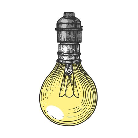 Electric lamp color sketch engraving vector illustration. Scratch board style imitation. Hand drawn image.
