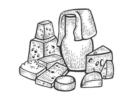 Milk products r sketch engraving vector