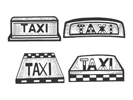 Taxi sign top light box set sketch engraving vector illustration. Scratch board style imitation. Black and white hand drawn image.