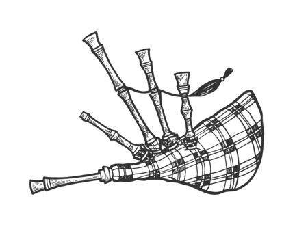 Instrument de cornemuse croquis gravure illustration vectorielle. Imitation de style planche à gratter. Image dessinée à la main en noir et blanc.