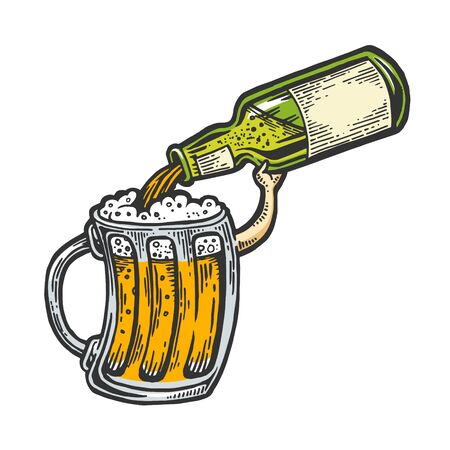 Cup pours beer from bottle color sketch engraving vector illustration. Scratch board style imitation. Black and white hand drawn image. 矢量图像