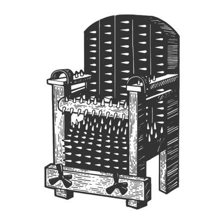 Iron Chair dispositivo di tortura medievale schizzo incisione illustrazione vettoriale. Imitazione di stile scratch board. Immagine disegnata a mano. Vettoriali