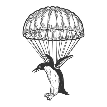 Penguin bird fly with parachute as paratrooper sketch engraving vector illustration. Scratch board style imitation. Hand drawn image. Ilustração